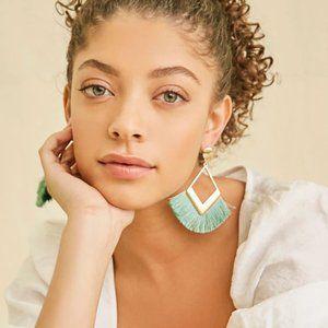 Pink and gold fringe / tassel earrings